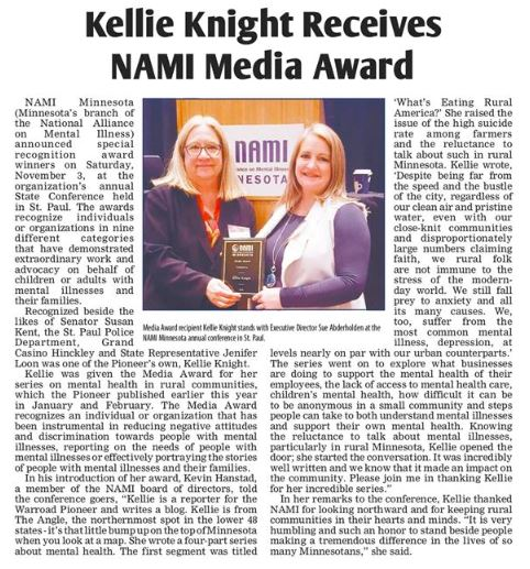 Kellie Knight Receives NAMI Media Award